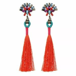 Brand New Statement Earrings with Coral Fringe
